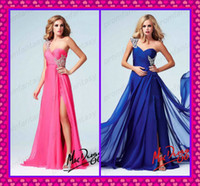 Fuchsia Chiffon Beautiful Evening Gowns 2014 Cheap One Shoul...
