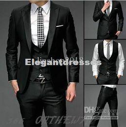 Mens Slim Fit one Button Suits Pants Vest Dress The groom dress