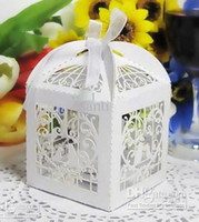 Wedding   Wedding Favor small Boxes Floral Theme Laser Cut Favor Box With Bowknot
