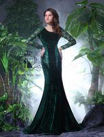 Scoop black velvet dress - Christmas New Style On Noble Evening Dresses Mermaid Court Train Long Sleeve Hollow Scoop Sequins Appliques Lace Amazing Dresses