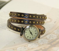 Wholesale Lady Watch Full Grain Vintage Cow leather women s wristwatches ROMA Quartz Leather stud and punk Valentine Gifts
