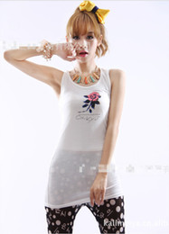 Wholesale Women Korean Summer Street Candy Colors Slim Long T shirt Rose Flower Pattern Print Casual Vest Modal Cotton