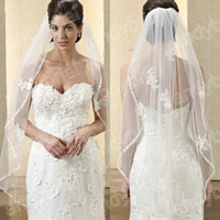2014 Best Selling luxury Beautiful Lace edge one layer white...