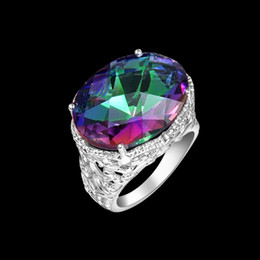 Wholesale sterling Silver Natural Mystic Topaz Ring Gemstone R0650
