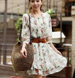 Wholesale shirt Hot Korean female Q643 loose folds of chiffon flounced hem sleeve floral dress with belt
