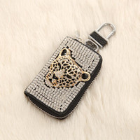 Wholesale New Fashion Panthers head Diamond Chain black PU car key case New Fashion leather Car Key Bag size cm