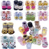 0-6Mos babies booties pattern - 1 Pair Newborn Baby Booties Unisex Anti slip Cotton Socks Cartoon Animal Pattern Prewalking Shoes Slipper Boots Months DDN