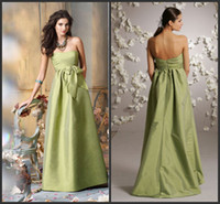 Wholesale Simple Fashion Strapless Backless Bridesamid Dresses A Line Floor Length Bow Satin Party Dresses