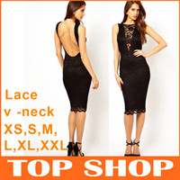 Wholesale Bodycon Dress Fashion Deep V Neck Lace Sleeveless U Backless Prom Dress Sexy Slim Elastic Satin Black Evening FZ0026