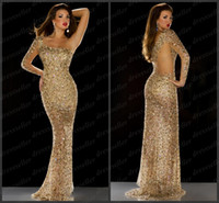 Wholesale 2014 Bling Bling Saudi Arabic Dubai Style One Shoulder One Long Sleeve Mermaid Long Gold Sequins Rhinestones Beaded Prom Dresses