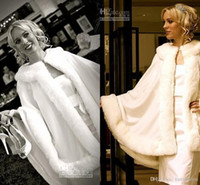 Wholesale 2014 Stunning Bridal Capes Ivory Wedding Jacket Faux Fur Perfect For Winter Wedding Dress Swing Coat