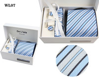 Wholesale NEW HOT high quality set silk Groom Ties Bridegroom Tie tie handkerchief sleeve button collar bar TIE025