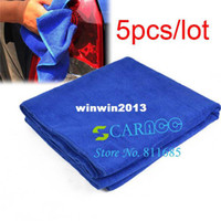 Wholesale 5pcs Hot Selling Microfibre Towel Car Cleaning Wash Cleaning Polish Cloth Blue x160CM