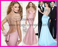 Reference Images Scoop Satin Tarik Ediz Sexy Pink Blue Backless Pearls Short Sleeve Mermaid Red Carpet Evening Dresses E5572