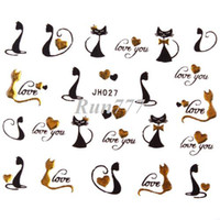 Wholesale 12 Styels Cute Cat Nail Decals D Nail Art Stickers With Gold Rhinestone New Arrival