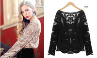 Wholesale Women s Semi Sheer Sleeve Embroidery Top Plus Size Sexy Lace Floral Crochet Blouse