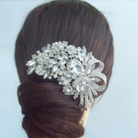 Wholesale Wedding Tiara Bridal Leaf Flower Hair Comb w Clear Rhinestone Crystal FSE04555C1