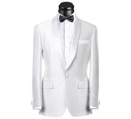Canada Real Picture Blanc Groom Tuxedos Groomsmen Meilleur Suit Homme Costume Mariage Mens Costume Bridegroom (Veste + Pantalons + Ceinture + Cravate) NO: 189 Offre