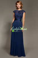 Wholesale 2014 Bateau Chiffon Lace Bridemaid Dresses made in Lace jacket with Chiffon Skrit A line floor length Navy Blue Prom dress on sale