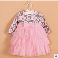 TuTu Spring / Autumn Bubble Skirt New Arrival Kids Dress 2014 Bubble Skirt Baby Girl Long Sleeve Princess Layer Dress Girl Full Printing Pink Dress
