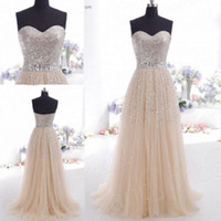 Wholesale Cheap under sheath sequins strapless belt crystal prom dress champagne zipper sweep train party dresses