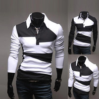 Men Cotton Polo S5Q New Fashion Men's Slim Fit Casual Polo Shirt T-Shirt Long Sleeve AAACUJ