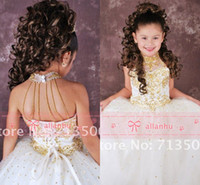 Wholesale 2016 Lovely Girl s Pageant Dresses Sexy Halter Neck Gold Beads Crystals Organza Ball Gown Princess White Flower Girl Dresses BO3898