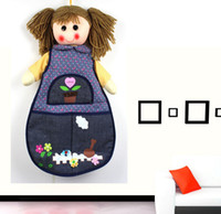 Wholesale 3 Piece Cute Cartoon Doll PP Cotton Hanging Storage Organizer Bag L487