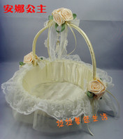 Wholesale 2014 New Design Flower Girls Basket Lace Flowers Embellished Concise Beauty Elegance Flower Girl Baskets FB001