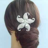 Wholesale Wedding Bridal Hair Accessories Starfish Hair Comb Rhinestone Crystals FS04824C1