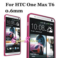 For HTC   Original LOVE MEI HQ 0.6mm -thin Aluminum Metal Bumper Frame Hard Case Cover For HTC One Max T6,With Retail Package
