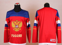 Ice Hockey Men Full Wholsale Team Russia Ice Hockey Jerseys Blank Red for 2014 Sochi Winter Olympics Size 48-56