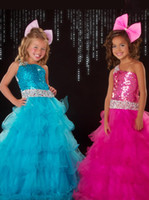 Wholesale 2015 Beach Sequins Beads Girls Pageant Dresses Backless Princess Ruffles Formal Occasion Dress Red Blue Cheap Floor Length Flower Girl Dress