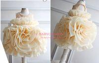 Real Photos baby dreses - Lovely cute champange flower girls dresses for wedding amp new year beaded sleeveless ruffles tea length little kids one piece dreses BO3527