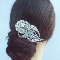 rhinestone hair comb - Wedding Bridal Flower Hair Comb w Clear Rhinestone Crystals FSE04243C1