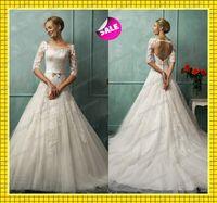 Sheer Crew Neck Backless Tulle Wedding Dresses 2014 Spring S...