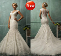Wholesale Illusion Sheer Covered Button Backless V Neck Sexy Mermaid Wedding Dresses Cap Sleeves Fitted Luxury Lace Appliques Court Train Bridal Gowns