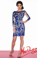 2014 Short Prom Dresses with Sheer Lace Royal blue red champ...