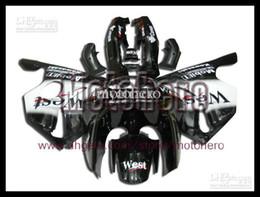 7gifts- gloss black west white fairings for NINJA ZX 6R 94 95 96 97 ZX-6R 94-97 ZX6R 1994-1997 636 ZX636 1994 1995 1996 1997 ABS fairing kit