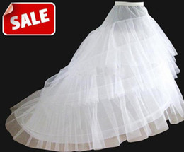 Wholesale In Stock Cheap Medium Size White Bridal Crinoline Chapel Court Train Wedding Dress Petticoat