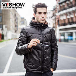 Wholesale Fashion Mens Down Coats Hooded High Collar Zip Placket Design Reversible Outwears for Mens Vertical Pockets Windproof VIISHOW Tops YC027