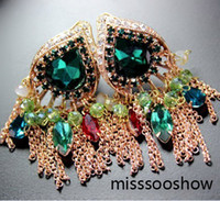 Wholesale colorful Crystal tassels fusiform women s earrings sa
