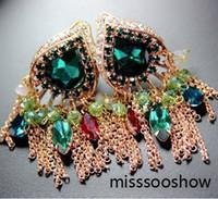 Wholesale colorful Crystal tassels fusiform women s earrings sa