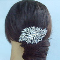 Wholesale Wedding Tiara Bridal Flower Hair Comb w Clear Rhinestone crystals FSE04079C1