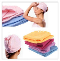 Wholesale Lady Microfiber Hair Dry Towel Magic Hair Care Drying Turban Wrap Hat Cap Quick Dry Bath Tool