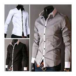 S5Q New Mens Long Sleeve Luxury Casual Slim Fit Stylish Dress Shirts 5 Colors 5 Size AAACKP