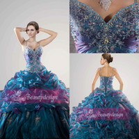 lace ruffled - Custom made organza floor length ball gowns sexy spaghetti straps lace up back sequins beaded crystals ruffles Quinceanera dresses QC26644