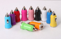 Wholesale for iphone UniversalColorful Mini Portable Bullet Car Charger Adapters for Iphone for Ipod for Samsung Android Phones MP3 MP4 MP5 GPS