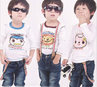 Wholesale Children Base Shirt long sleeve cartoon Bamboo cotton Boys Girls T Shirt Kids TShirts Clothing TS131