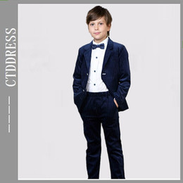 Wholesale Fashion blue Notch lapel party suits for boys two pieces new year new style coming